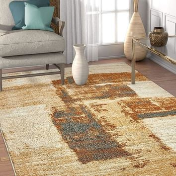 6121 Brown Modern Abstract Contemporary Area Rugs