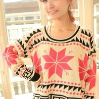 X' mas Snowflake Loose Sweater Red S007622
