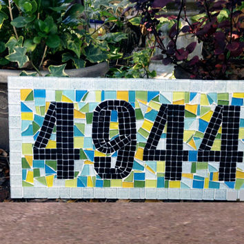 House Number Plaque, Mosaic Address Sign, Colorful Outdoor Mosaic House Numbers, Blue Green Yellow Aqua