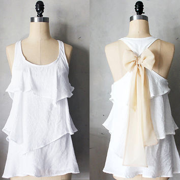WINTER AURA - Romantic ivory white flowy tier blouse // creamy nude ivory // chiffon sash bow // tunic // tank top // racerback