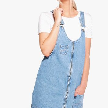 Lara Zip Through Slogan Pinafore Dress | Boohoo