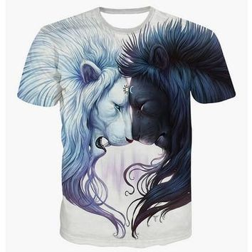 New Hot Men 3d T- Shirt Cotton Short-sleeved Tops Personality Casual Lion Printing Tee [8833389004]