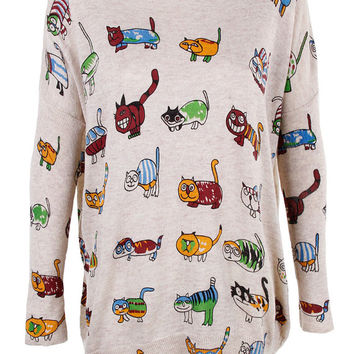 Colourful cats print top jumper knitwear oversized top shirt womens ladies cardigan