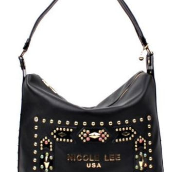 REESE STUDDED EMBELLISHED HOBO BAG