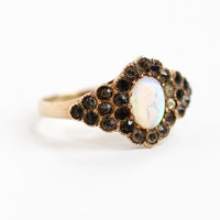 Antique 10k Rose Gold Opal & Paste Ring- Vintage Size 7.5 Late 1800s Victorian Era Fiery Gemstone and Rhinestone Fine Jewelry