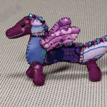 Mini Patchwork Dragon No. 17 - Dollhouse Miniature Stuffed Animal - Artisan OOAK
