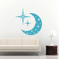 Sky Moon Stars Wall Decal Vinyl Decals Sticker Interior Home Decor Vinyl Art Wall Decor Bedroom Nursery Baby Kids Children's Room SV5891