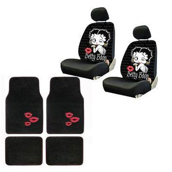 Licensed Official New Betty Boop Kiss Timeless Car Front Back Floor Mats & Seat Covers Set