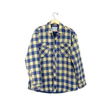 20% OFF SALE Vintage Flannel Jacket. Lined Plaid Flannel Shirt. Button Up Insulated Shirt. Worn in Quilted Fall Coat.Thick Flannel Jacket.