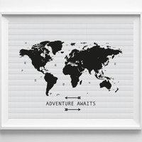 """Travel Quote Print: """"Adventure Awaits"""", Printable Quote Poster, Quote Poster, Printable Home Decor, Black White World Map , Instant Download"""