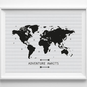 Best downloadable world map products on wanelo travel quote print adventure awaits printable quote poster gumiabroncs Image collections