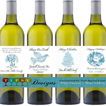 Blue Christmas Wine Bottle Labels Happy Holidays Seasons Greetings Merry Christmas Customized Personalized Set of 4
