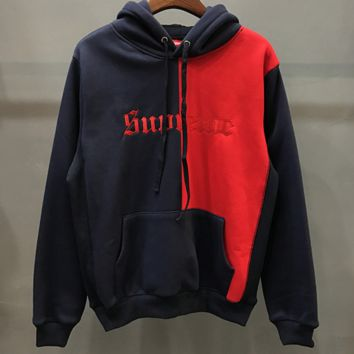 Champion Trending Casual Embroider Long Sleeve Round Neck Pullover Sweater Navy blue+Red G