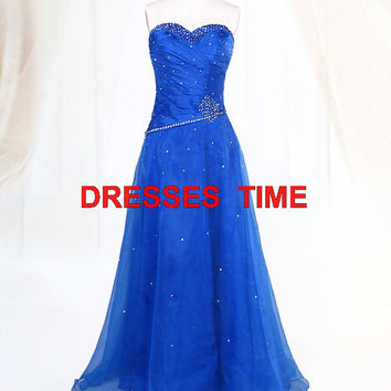 2013 Modern Generous  Long  Royal blue Chiffon Bridesmaid/Evening/Prom/Party Dress with beadings
