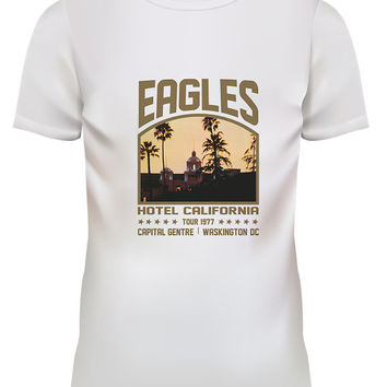 Unisex Eagles Hotel California Tour 1977 Rock White T Shirt Size S M L XL