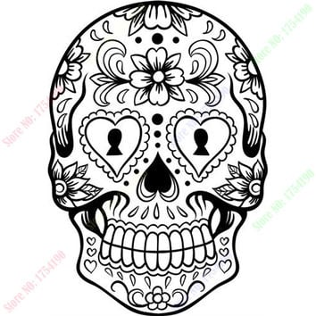 Happy Halloween Sugar Skull Version 6 Graphic Living Room Vinyl Carving Wall Decal Sticker for Holiday party Home Window Decor