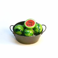 Miniature Food Watermelon in Metal Pail Fairy Garden Dollhouse Farm Fruit