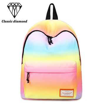 Women Printing Backpacks Gradient Color Shoulder Bags Nylon School Bags Rainbow School Bags For Teenage Girls Book Bag Mochila