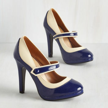 Rockabilly Classy Indeed Heel in Navy