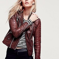 Doma Womens Scarlet Note Leather Biker Jacket