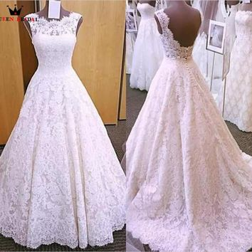 QUEEN BRIDAL A-line Backless Lace Beading Vintage Sexy Wedding Dress