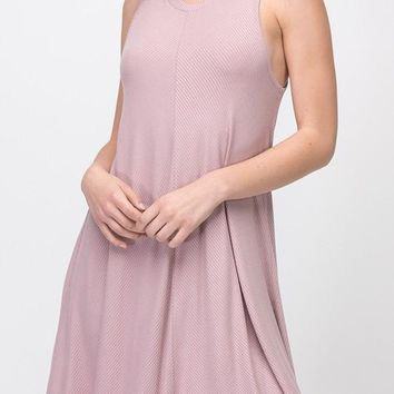 Lucy Chevron Ribbed Swing Dress in Dusty Pink