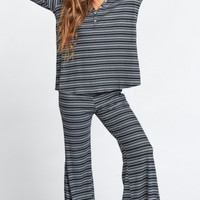 Hibernate Henley ~ Shadow Stripe Rib Night & Grey