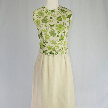 Vintage 1960's Pin-up Floral Linen Day Dress Adorable Bow Belt