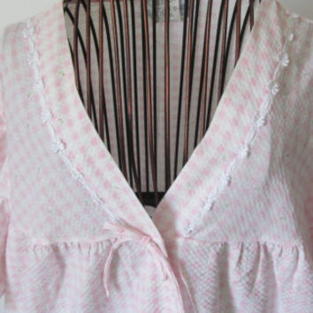 60s Pink Seer Sucker Night Dress Night Robe sz Large Enchantmates Miss Elaine Nightgown Pink Gingham Plaid Check bathrobe peignoir