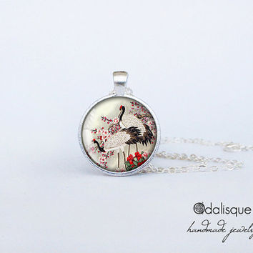 Handmade Japanese Cranes & Cherry Blossoms Pendant Asian Art Necklace Jewelry Birthday Gift Round Glass Bird Pendant