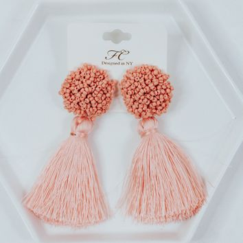 Extra Beaded Fringe Earrings (Blush)