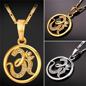 AUM OM Pendant Charm Necklace India Hinduism Jewelry Platinum/Gold Plated Amulet Lucky Gift For Men/Women