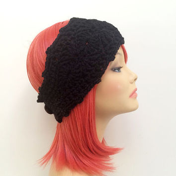 FREE SHIPPING - Crochet Ear Warmer Headband - Black