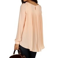 Sale-pink Pleated Flow Chiffon Blouse