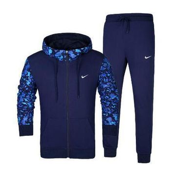 One-nice™ NIKE Hooded Cardigan Jacket Coat Pants Trousers Set Two-Piece Sportswear