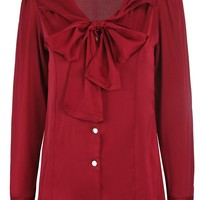 Casual Chic Tie Collar Bowknot Solid Blouse
