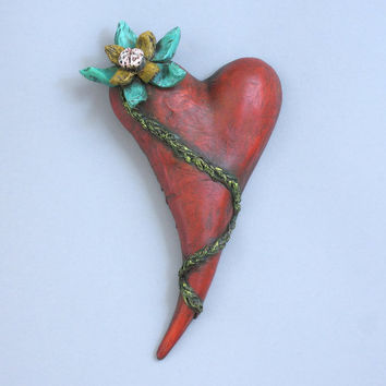 "Heart, ceramic wall art, Jacquline Hurlbert, one of a kind, unique, title: ""Desert Bloom"""