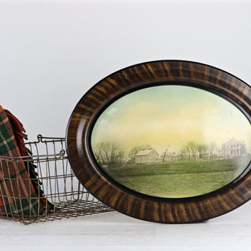 Burl Oval Picture Frame With Old Farmhouse Photo Antique Burl Oval Picture  Farmstead Picture Farmhouse Decor Old Picture Of Farmstead
