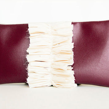 Faux Leather Clutch Shabby Chic Burgundy with natural by Stoic