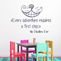 Wall Decals Vinyl Decal Sticker Children Kids Nursery Baby Room Bedding Interior Design Home Decor Alice in Wonderland the Cheshire Cat Quotes Every Adventure Requires a First Step Kg850
