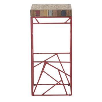 Rubic Reclaimed Boat Wood Bar Stool Red