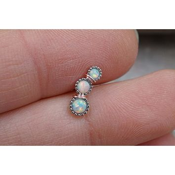 3 White Opal Cartilage Piercing, Helix Earring