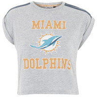 Miami Dolphins Crop Tee By Tee and Cake - Grey