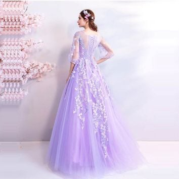 Lace Up Floral Flowers Half Sleeve Floor Length Bride Party Evening Gowns Prom Dresses
