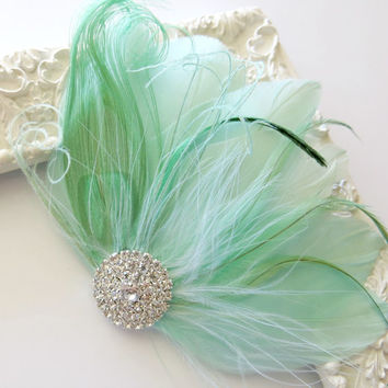 Bridesmaid Bride Feather Hair Accessory, Feather Fascinator, Bridal Hair PIece, Peacock, Mint Green, Feather, Hair Clip, Art Deco, 1920s