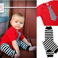 Baby Boy Red Tie Bodysuit with matching leg warmers - My First Valentine's Day, Wedding children, baby clothing, long or short sleeves