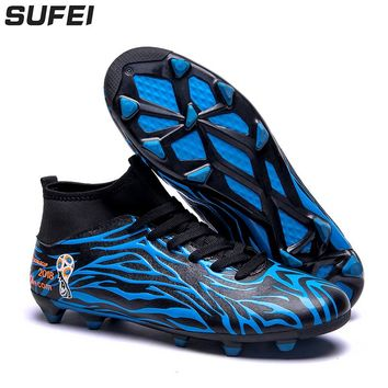 sufei 2018 Men Soccer Shoes FG High Ankle Football Boots Superfly Boys Kids Unisex Cleats Athletic  Sport Training Shoes