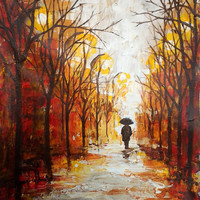 Autumn Rain - Original Signed Modern Palette Knife Abstract Landscape - Oil And Acrylic On Canvas - Contemporary Art Painted By Gargovi