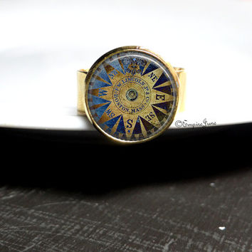 Gold Compass Ring Gold Jewelry Nautical Beach Ring Blue Beach Ring, Nautical Glass Jewelry Mayan Calendar Compass Ring Sundial Jewelry Beach
