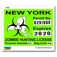 New York NY Zombie Hunting License Permit Green Sticker